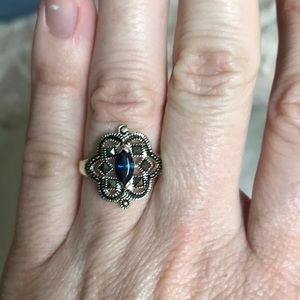 Silver marcasite and blue ring